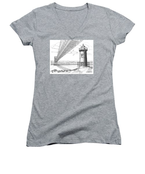 Jeffrey's Hook Lighthouse Women's V-Neck