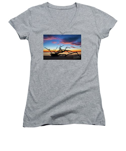 Jekyll Island Sunrise On Driftwood Beach Women's V-Neck