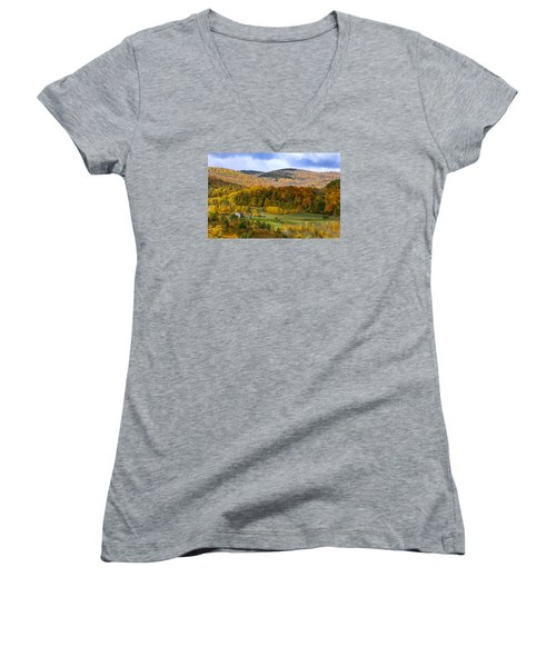 Women's V-Neck T-Shirt (Junior Cut) featuring the photograph Jenne Farms Neighbor Reading Vt by Betty Denise