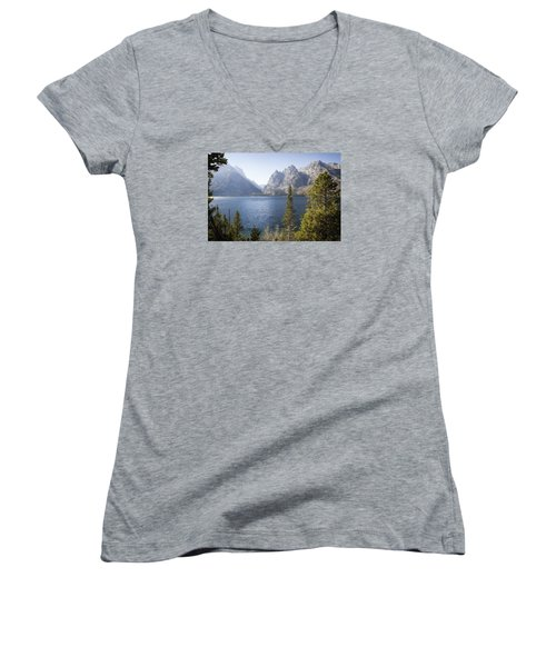 Women's V-Neck T-Shirt (Junior Cut) featuring the photograph Jenny Lake by Shirley Mitchell