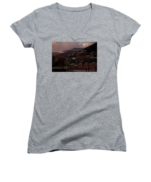 Women's V-Neck T-Shirt (Junior Cut) featuring the photograph Jerome On The Edge Of Sunrise by Ron Chilston