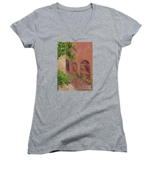 Jerusalem Alleyway Women's V-Neck T-Shirt (Junior Cut) by Gail Kent