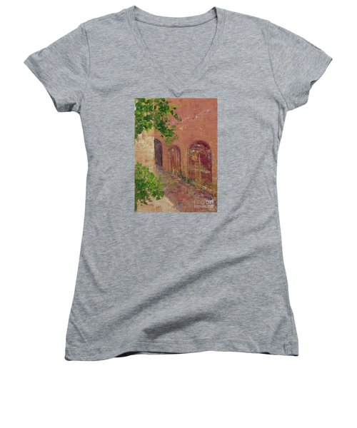 Jerusalem Alleyway Women's V-Neck (Athletic Fit)