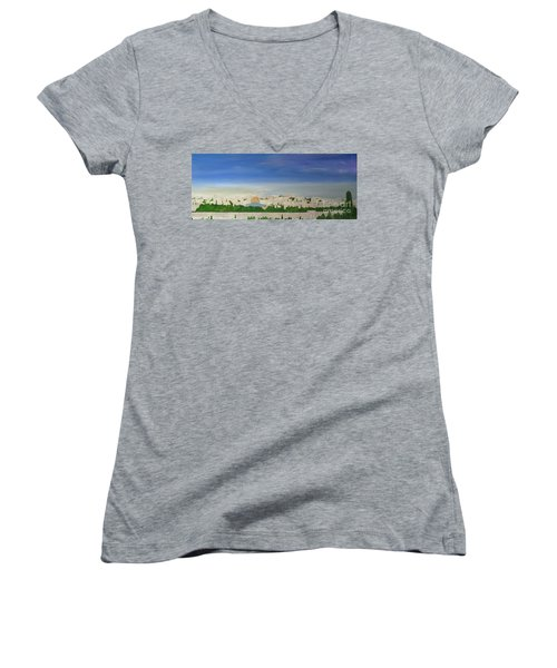 Jerusalem Skyline Women's V-Neck