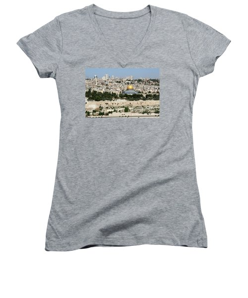 Jerusalem Skyline Women's V-Neck (Athletic Fit)