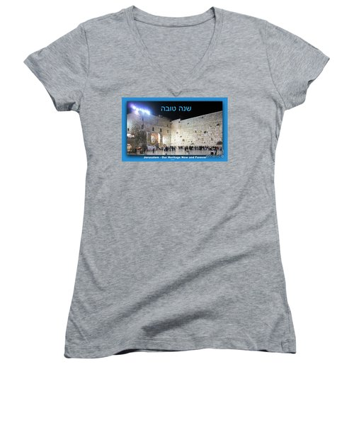 Jerusalem Western Wall Shana Tova Happy New Year Israel Women's V-Neck