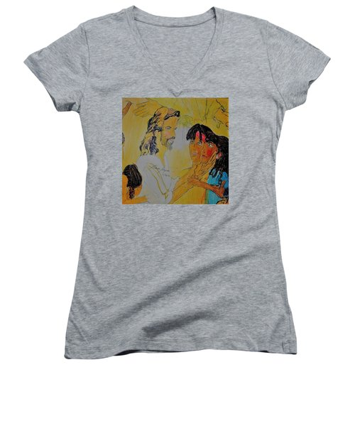 Jesus And The Children Women's V-Neck (Athletic Fit)
