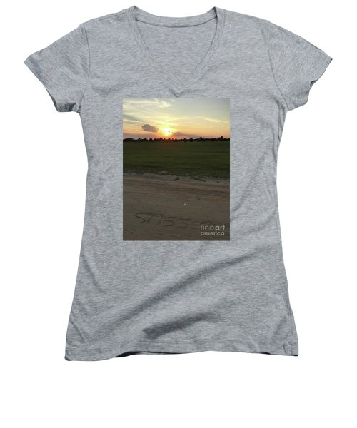 Jesus Healing Sunset Women's V-Neck