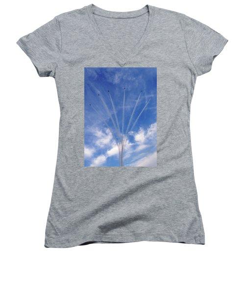 Jet Planes Formation In Sky Women's V-Neck