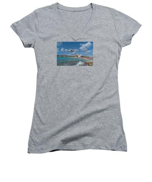 jetBlue at St. Maarten Women's V-Neck T-Shirt (Junior Cut) by David Gleeson