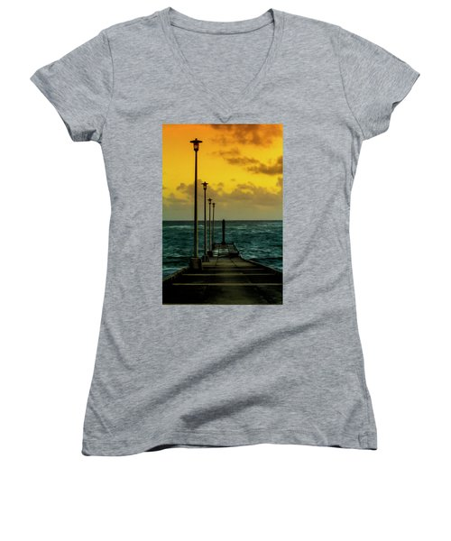 Jetty At Sunrise Women's V-Neck