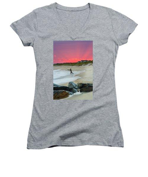 Jetty Four Fisherman Women's V-Neck T-Shirt