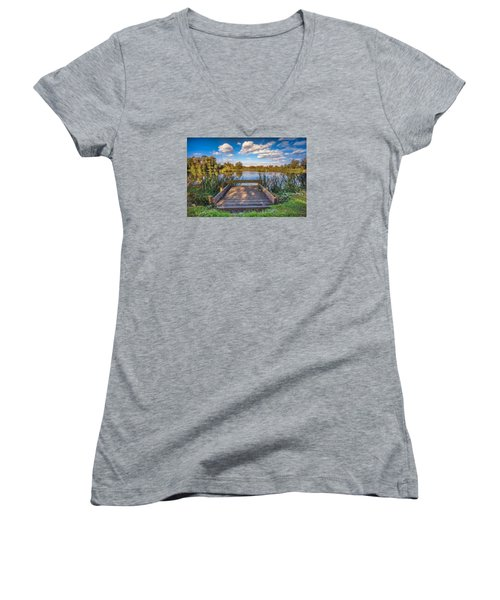Women's V-Neck featuring the photograph Jetty by James Billings