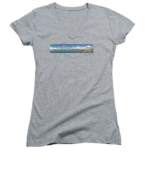 Women's V-Neck T-Shirt featuring the photograph Jetty To Shore by Stephen Mitchell