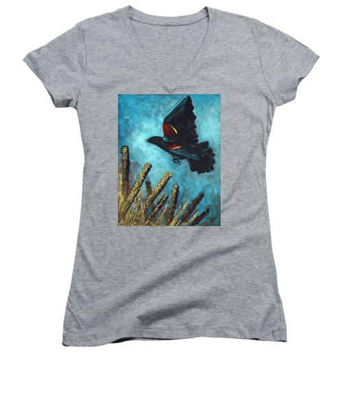 Women's V-Neck T-Shirt (Junior Cut) featuring the painting Jewel Among The Cattails by Suzanne McKee