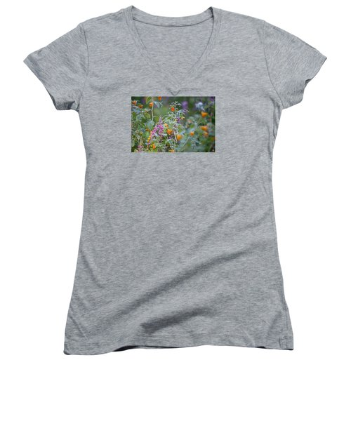 Jewel Weed With Dew Diamonds Women's V-Neck (Athletic Fit)