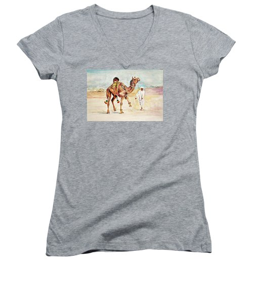 Jewellery And Trappings On Camel. Women's V-Neck T-Shirt (Junior Cut) by Khalid Saeed