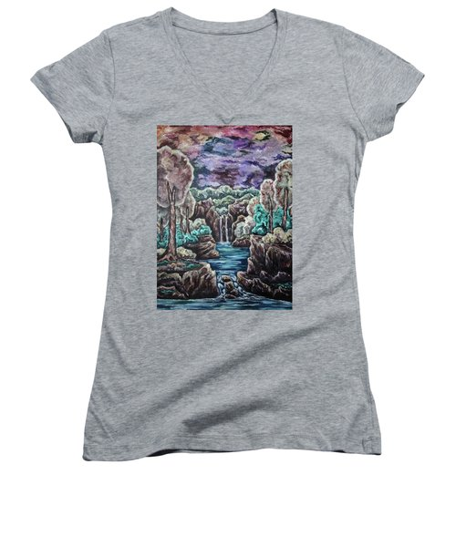 Jewels Of The Valley Women's V-Neck T-Shirt (Junior Cut) by Cheryl Pettigrew