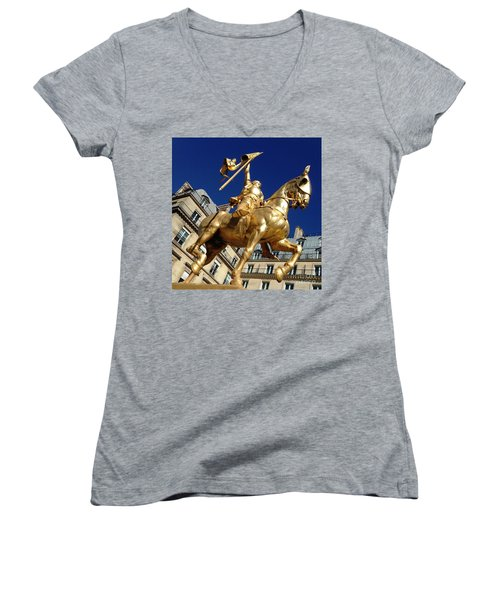 Joan Of Arc - Paris Women's V-Neck T-Shirt (Junior Cut) by Therese Alcorn