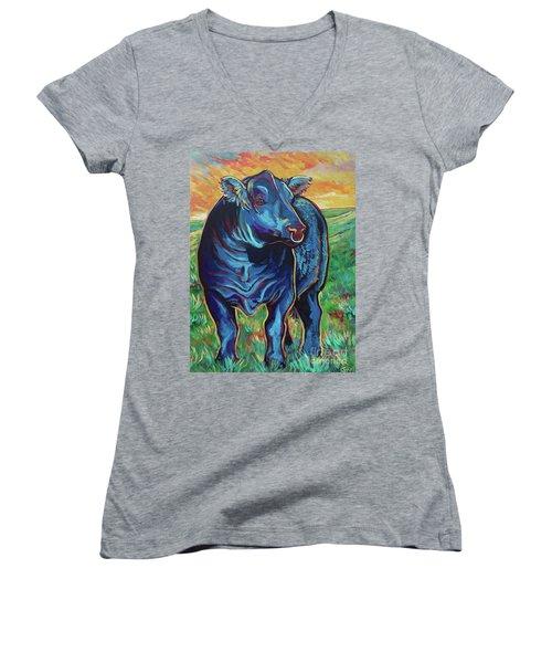 Women's V-Neck T-Shirt (Junior Cut) featuring the painting Joe by Jenn Cunningham