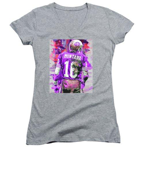 Women's V-Neck T-Shirt (Junior Cut) featuring the photograph Joe Montana 16 San Francisco 49ers Football by David Haskett