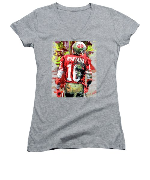 Joe Montana Football Digital Fantasy Painting San Francisco 49ers Women's V-Neck T-Shirt