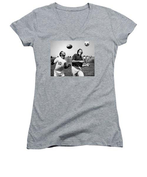 Joe Namath (1943- ) Women's V-Neck T-Shirt (Junior Cut) by Granger