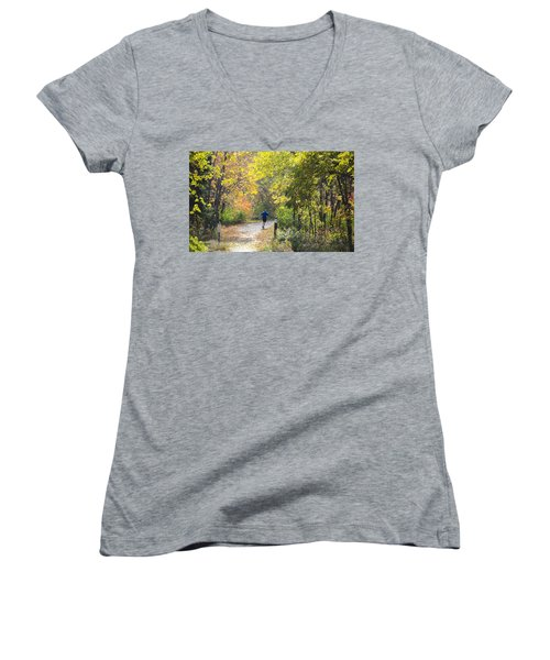 Jogger On Nature Trail In Autumn Women's V-Neck