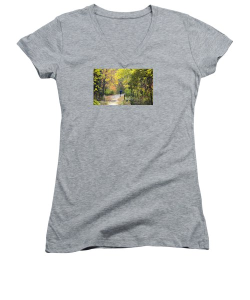 Jogger On Nature Trail In Autumn Women's V-Neck (Athletic Fit)