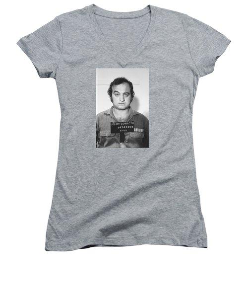 John Belushi Mug Shot For Film Vertical Women's V-Neck T-Shirt (Junior Cut) by Tony Rubino