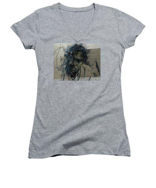 Women's V-Neck T-Shirt (Junior Cut) featuring the mixed media John Coltrane / Retro by Paul Lovering