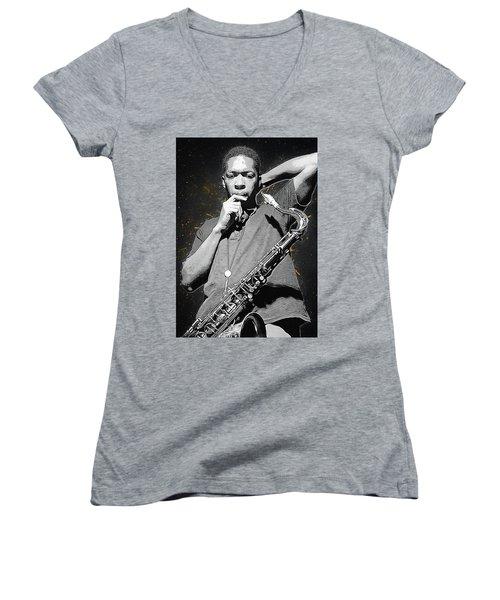 John Coltrane Women's V-Neck T-Shirt (Junior Cut) by Semih Yurdabak