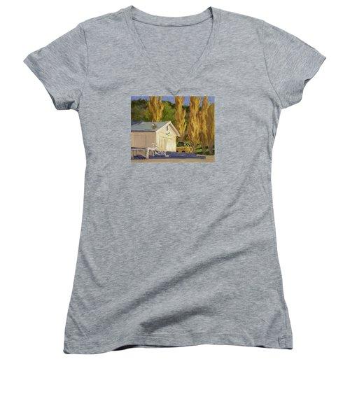John Deere Women's V-Neck T-Shirt (Junior Cut) by Jane Thorpe