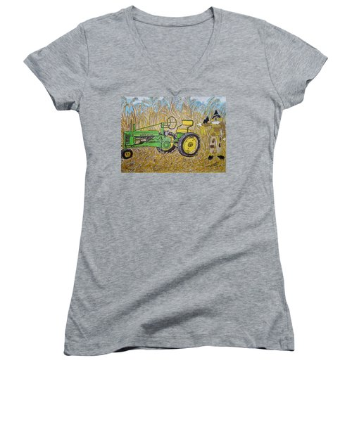 Women's V-Neck T-Shirt (Junior Cut) featuring the painting John Deere Tractor And The Scarecrow by Kathy Marrs Chandler