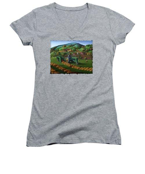 John Deere Tractor Baling Hay Farm Folk Art Landscape - Vintage - Americana Decor -  Painting Women's V-Neck T-Shirt (Junior Cut) by Walt Curlee