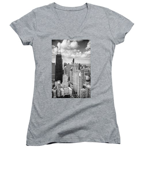 John Hancock Building In The Gold Coast Black And White Women's V-Neck T-Shirt (Junior Cut) by Adam Romanowicz