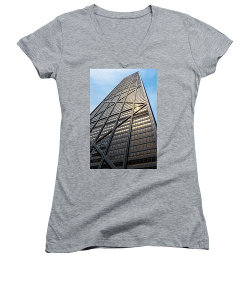 John Hancock Center Chicago Women's V-Neck T-Shirt (Junior Cut) by Steve Gadomski