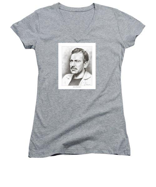 John Steinbeck Women's V-Neck T-Shirt (Junior Cut) by Greg Joens