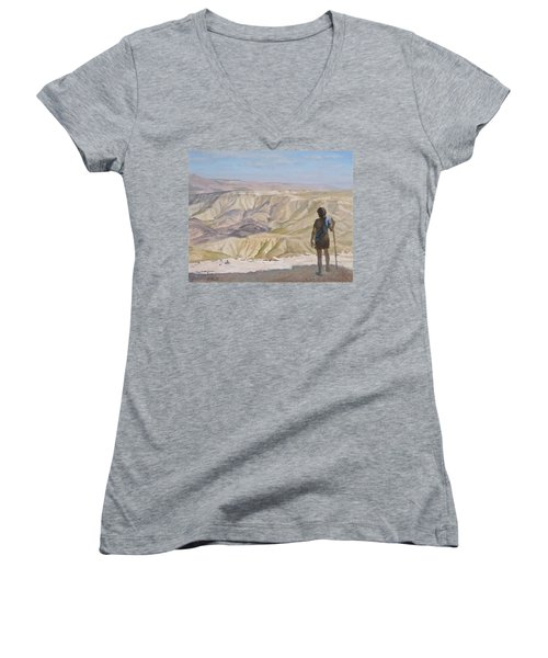 John The Baptist In The Desert Women's V-Neck T-Shirt (Junior Cut)