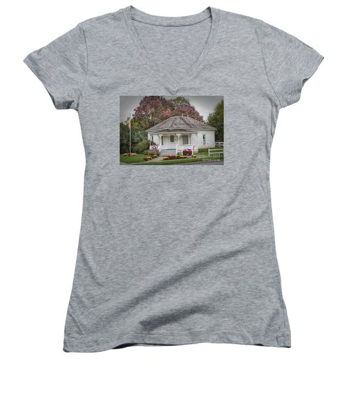 John Wayne Birthplace Women's V-Neck T-Shirt (Junior Cut) by Lynn Sprowl