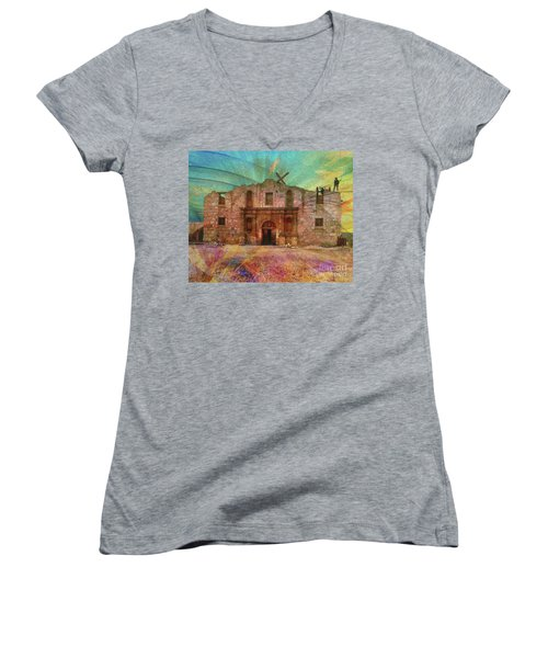 John Wayne's Alamo Women's V-Neck T-Shirt (Junior Cut) by John Robert Beck