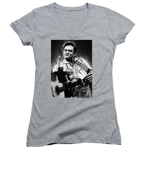 Johnny Cash Women's V-Neck T-Shirt