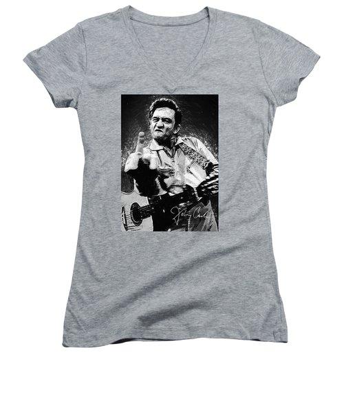 Johnny Cash Women's V-Neck (Athletic Fit)