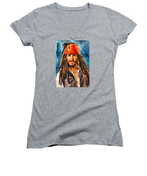 Women's V-Neck T-Shirt (Junior Cut) featuring the digital art Johnny Depp As Jack Sparrow by Charmaine Zoe