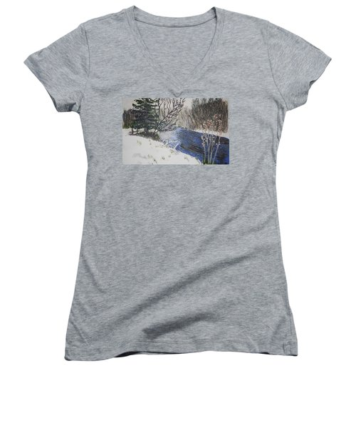 Women's V-Neck T-Shirt (Junior Cut) featuring the painting Johnson Vermont In Spring Snow Storm by Donna Walsh