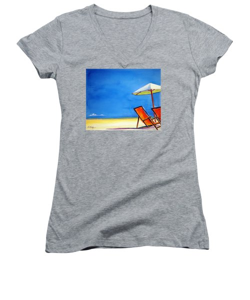 Women's V-Neck T-Shirt (Junior Cut) featuring the painting Join Me by Suzanne McKee