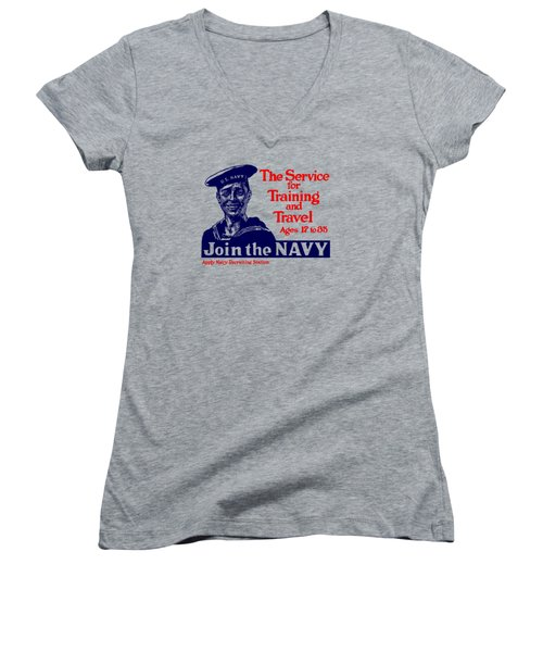 Join The Navy - The Service For Training And Travel Women's V-Neck