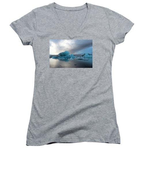 Women's V-Neck T-Shirt featuring the photograph Jokulsarlon, The Glacier Lagoon, Iceland 4 by Dubi Roman
