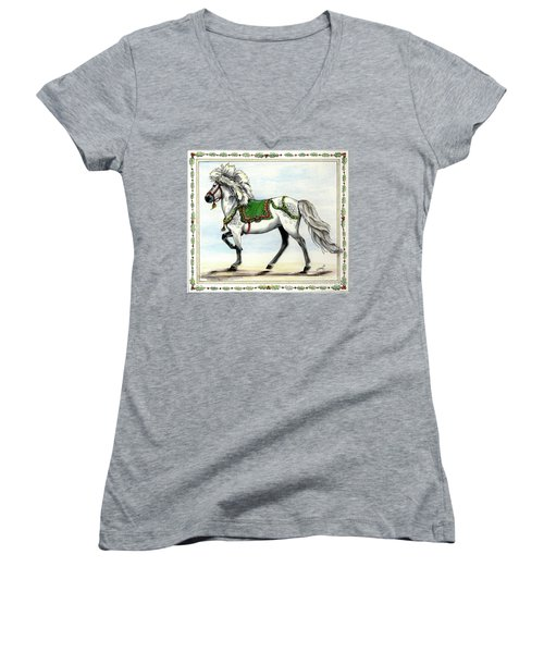 Women's V-Neck T-Shirt (Junior Cut) featuring the painting Jol  by Shari Nees