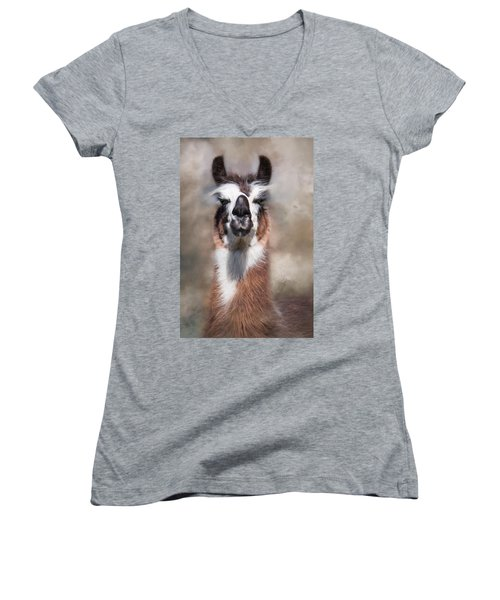 Women's V-Neck T-Shirt (Junior Cut) featuring the photograph Jolly Llama by Robin-Lee Vieira
